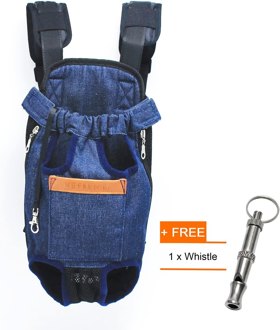 NEFBENLI Denim Blue Front Kangaroo Pouch Dog Carrier,Wide Straps with Shoulder Pads,Adjustable and Legs Out Pet Backpack Carrier,for Walking,Travel,Hiking,Camping