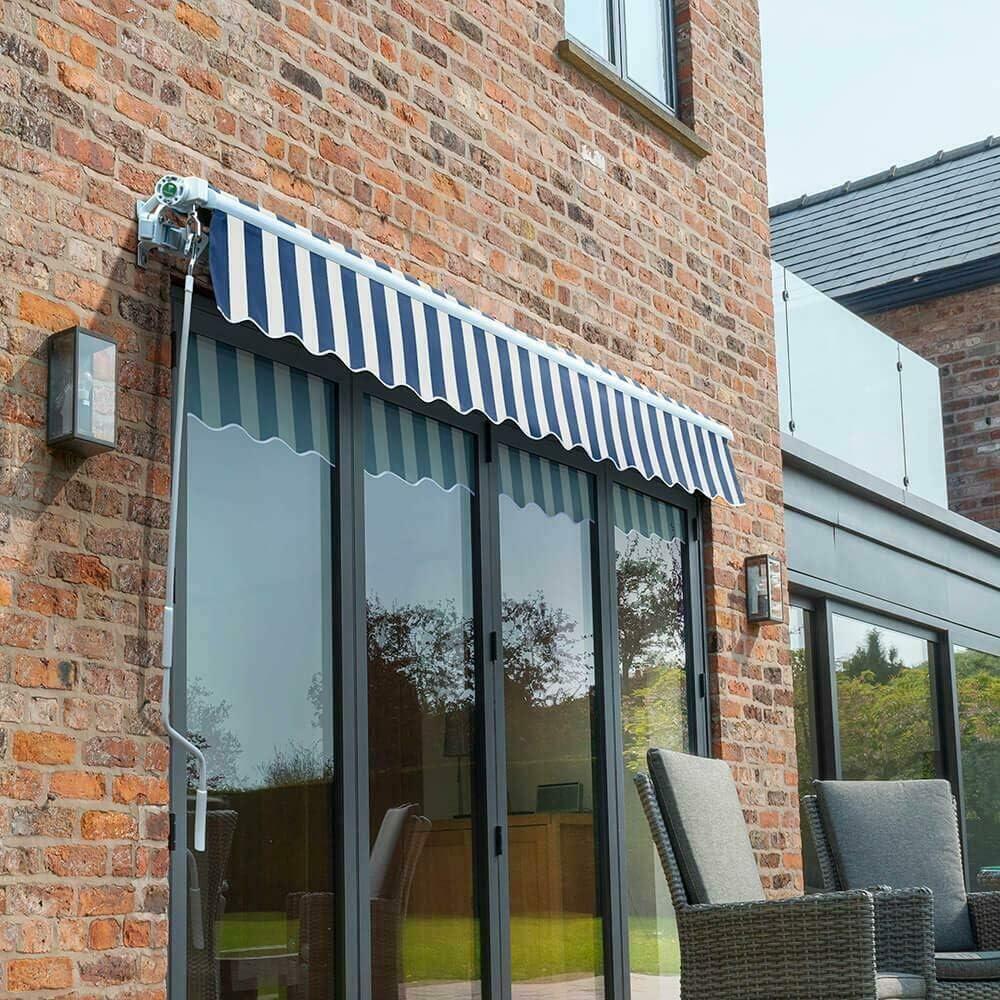 exterior retr/áctil azul balc/ón para jard/ín altura ajustable toldo de jard/ín terraza 3,5 x 1,2 m Toldo retr/áctil manual de jard/ín exterior