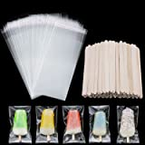 100 Pieces Popsicle Bags Ice Cream Bags Clear Ice Pop Plastic Bags and 100 Pieces Wooden Popsicle Sticks Ice Pop Sticks for D