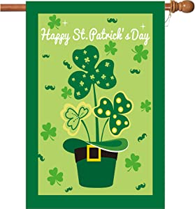W&X St Patrick's Day Flag,Shamrock/Hat St Patricks Flag 28 x 40 Inch Double-Sided Display with 2 Grommets Double Thickness House Flag for Garden and Home Decorations
