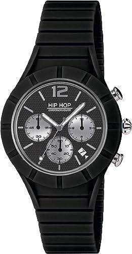Orologio HIP HOP UOMO X MAN quadrante MONO COLORE NERO movimento CHRONO QUARZO e CINTURINO SILICONE NERO HWU0657