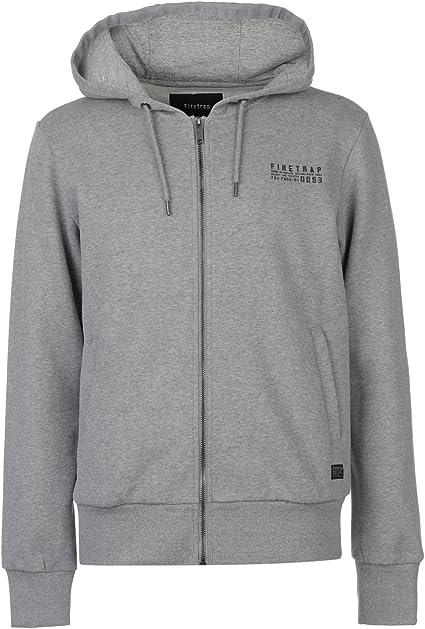 Official Firetrap Mens Pullover Hood Grey Marl Perus