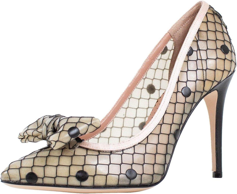 Dot Design Bow Mesh Heels Shoes /37