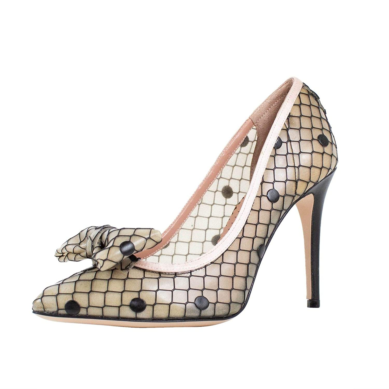 Red Valentino Womens Valentino with Dot Design Bow Mesh Heels Shoes //37 7 Beige