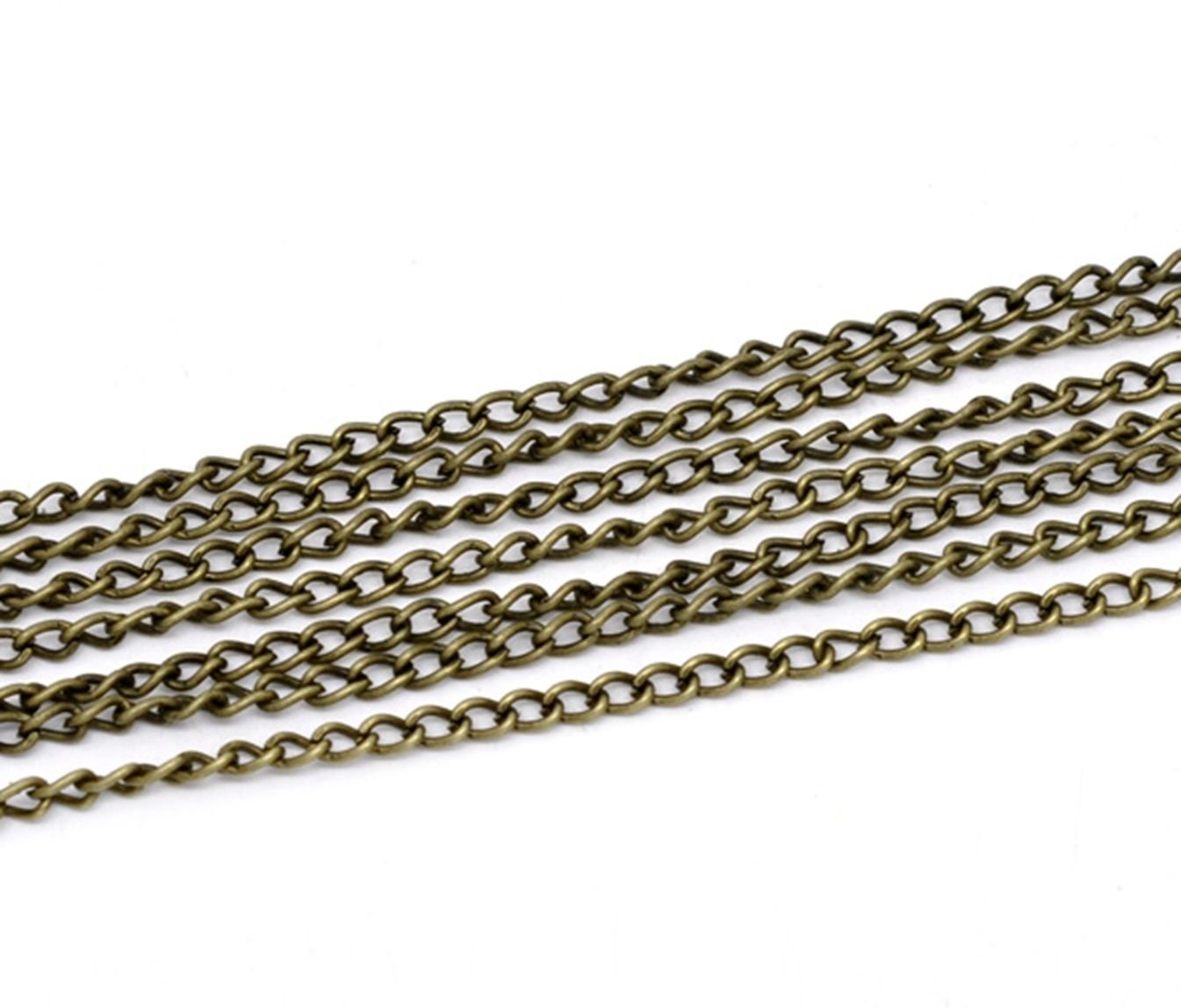5 Metres Length of Antique Bronze 4mm x 3mm Link Open Curb Chain. For Jewellery Making and Art Crafts.