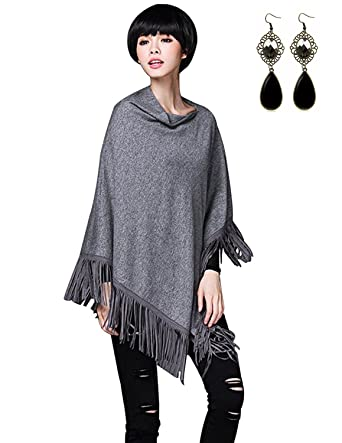 Sitengle Mujeres Ponchos Capas Tassel Suaves Suéter Otoño Invierno Jersey Largas Mini Vestidos Chaqueta Túnica Blusa