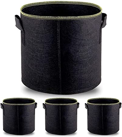 Meccion Grow Bags 5 Pack 1 Gallon Non-Woven Fabric Planting Bags Vegetable Flower Pot Bag with Handles for Gardening Nursery Home Decoration