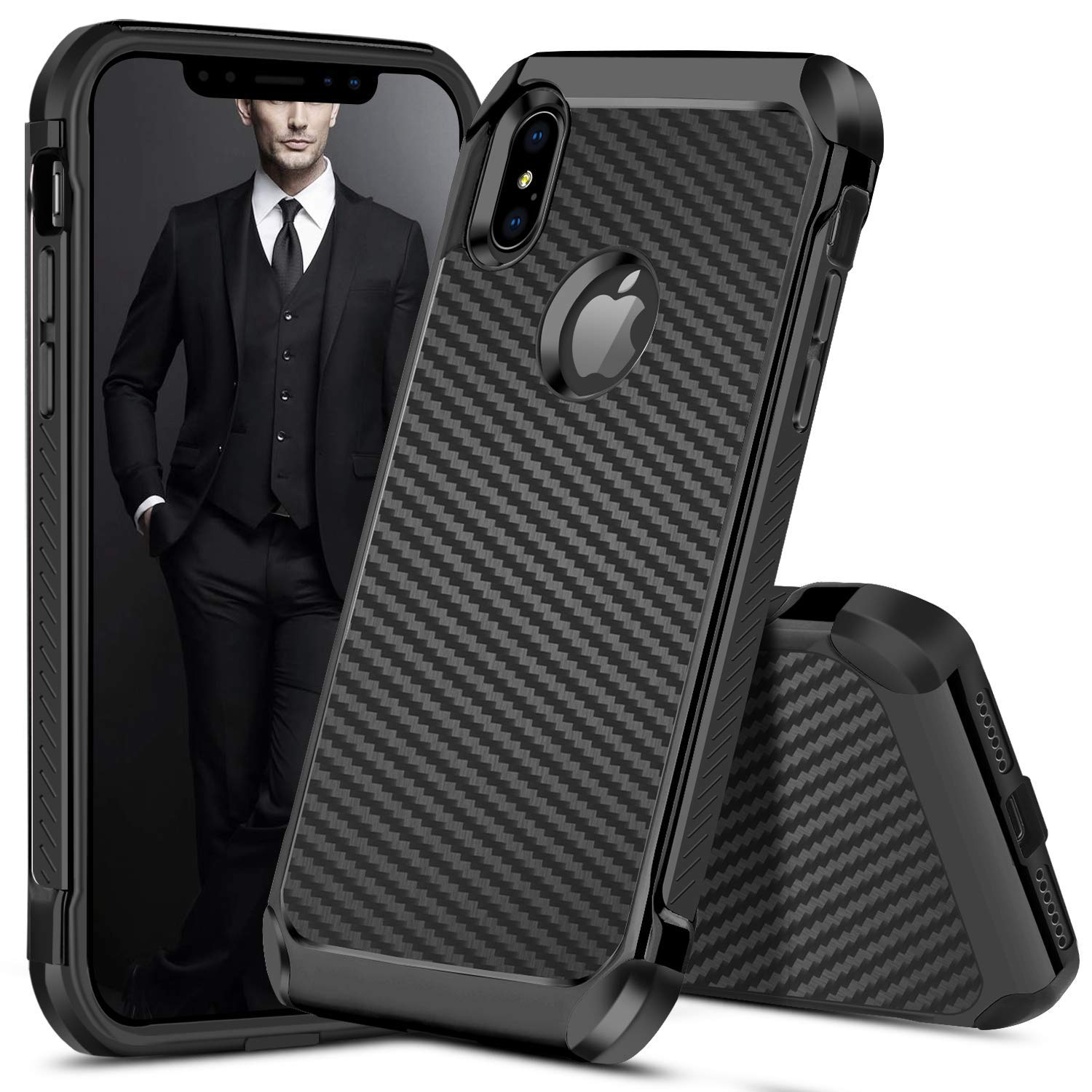 Iphone Xs Max Case Duedue Shockproof 2 In 1 Case Carbon Fiber Texture Design Slim Hybrid Hard Pc Cover Pu Leather Tpu Bumper Full Body Protective