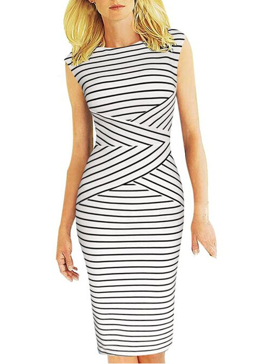Viwenni® Women's Summer Striped Sleeveless Wear to Work Casual Party Pencil Dress,Medium,White