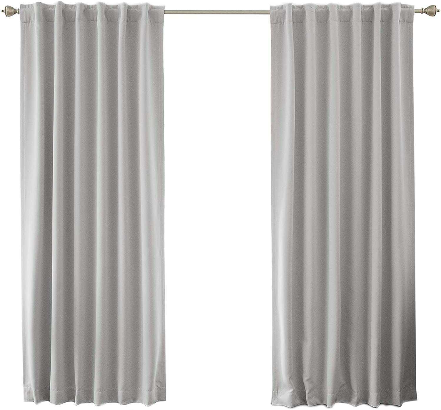 """Best Home Fashion Premium Blackout Curtain Panels - Solid Thermal Insulated Window Treatment Blackout for Bedroom - Back Tab & Rod Pocket – LTGREY - 52"""" W x 84"""" L - (Set of 2 Panels)"""