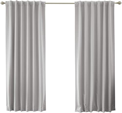 Best Home Fashion Premium Blackout Curtain Panels – Solid Thermal Insulated Window Treatment Blackout for Bedroom – Back Tab Rod Pocket LTGREY – 52 W x 96 L – Set of 2 Panels