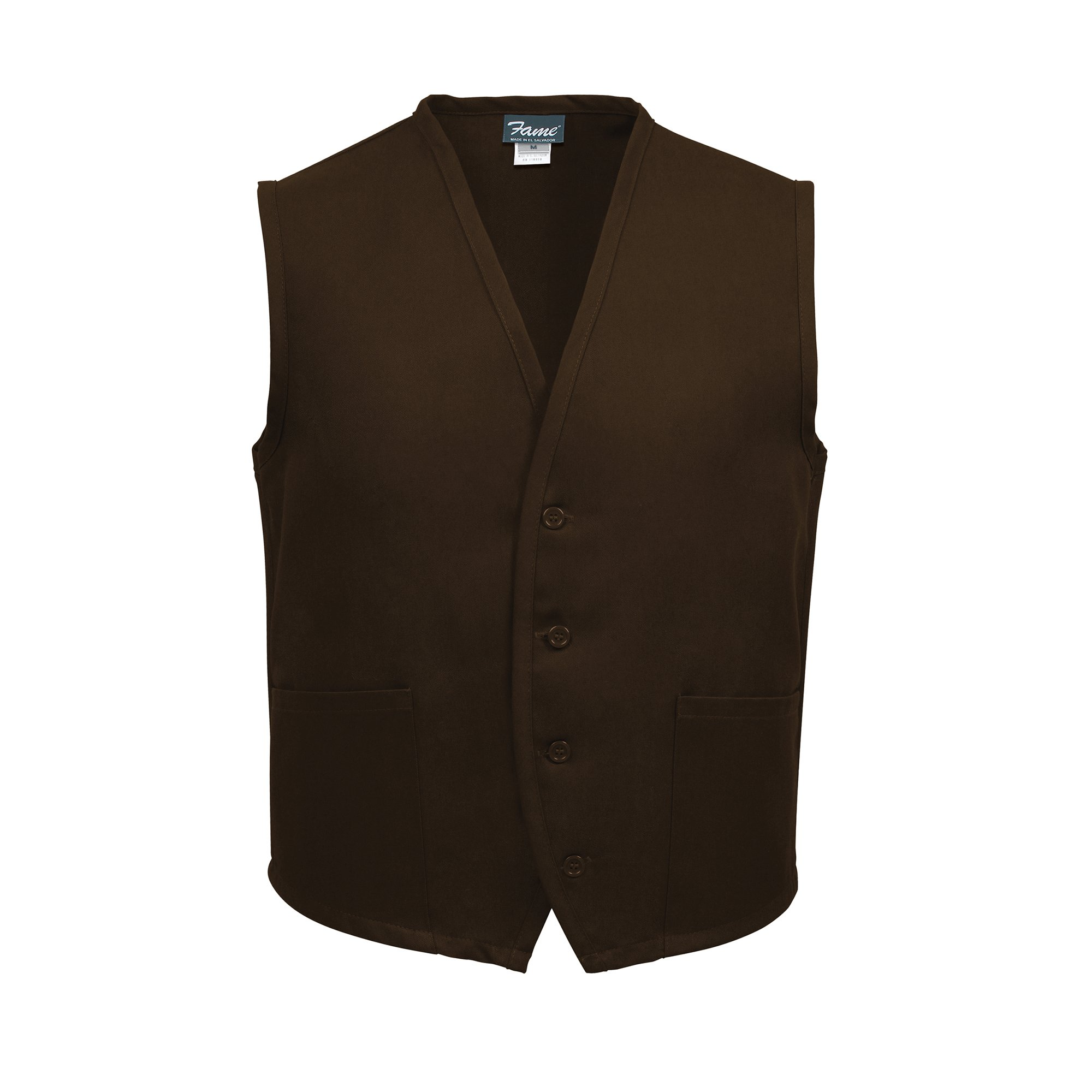 Fame Adult's 2 Pocket Vest - Brown - Medium