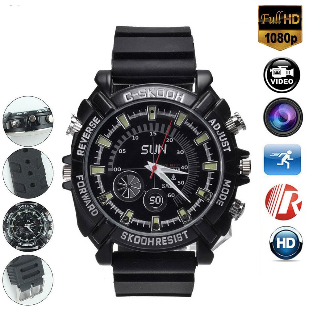 HD 1080P Hidden Camera Wath 16GB DVR Cameras Multifunctional Smart Wrist Waterproof Watch IR Night Vision with Cameras for Home Outdoor by Liyahha-Home