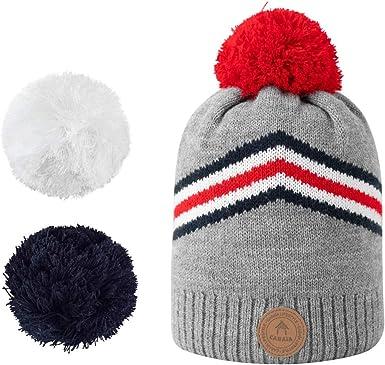 Caba/ïa Bonnet Red Lion Navy /à pompons interchangeables chaud et doux pour le ski//montagne//ville//froid pour Homme et Femme