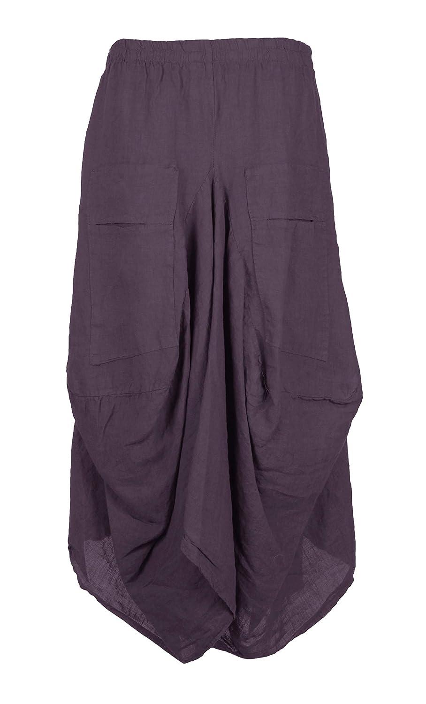 832f8da0069 Top8  TEXTURE Ladies Womens Italian Lagenlook Elasticated 2 Slit Pocket  Linen Maxi Skirt One Size