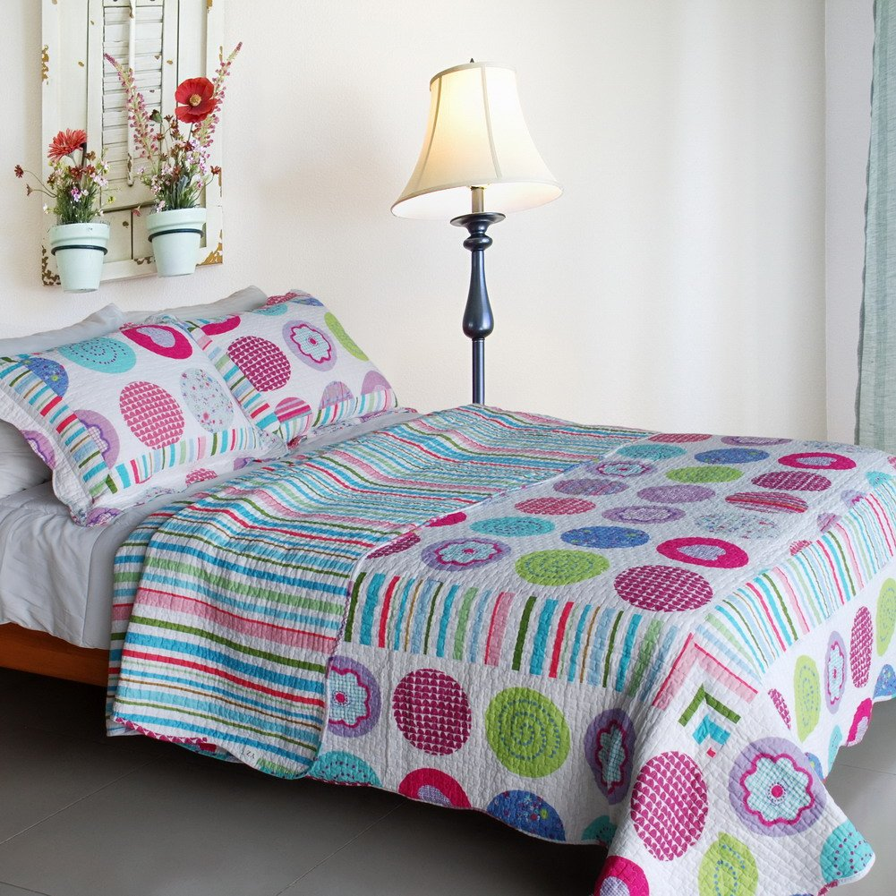 Cotton 3PC Vermicelli-Quilted Printed Quilt Set