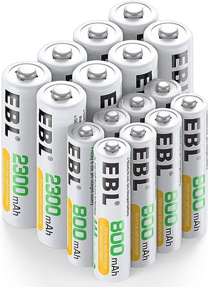 EBL 16 Pack AA AAA Pilas Recargables, 8 x Pilas AA Recargables 2300mAh y 8 x Pilas AAA Recargables 800mAh: Amazon.es: Electrónica