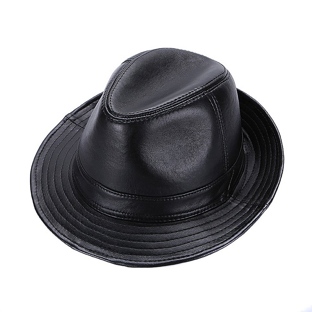 FULIER Men s Leather Fedora Hat Gentleman Jazz Sheepskin Cap Wide Brim  Dress Hat at Amazon Men s Clothing store  5d8d91962f6