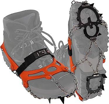 ALPIDEX Crampones Antidesilisantes 12 Dientes Acero Inoxidable Crampones Zapatos Escalada Hielo Barro Nieve Alpinismo Marcha Invierno