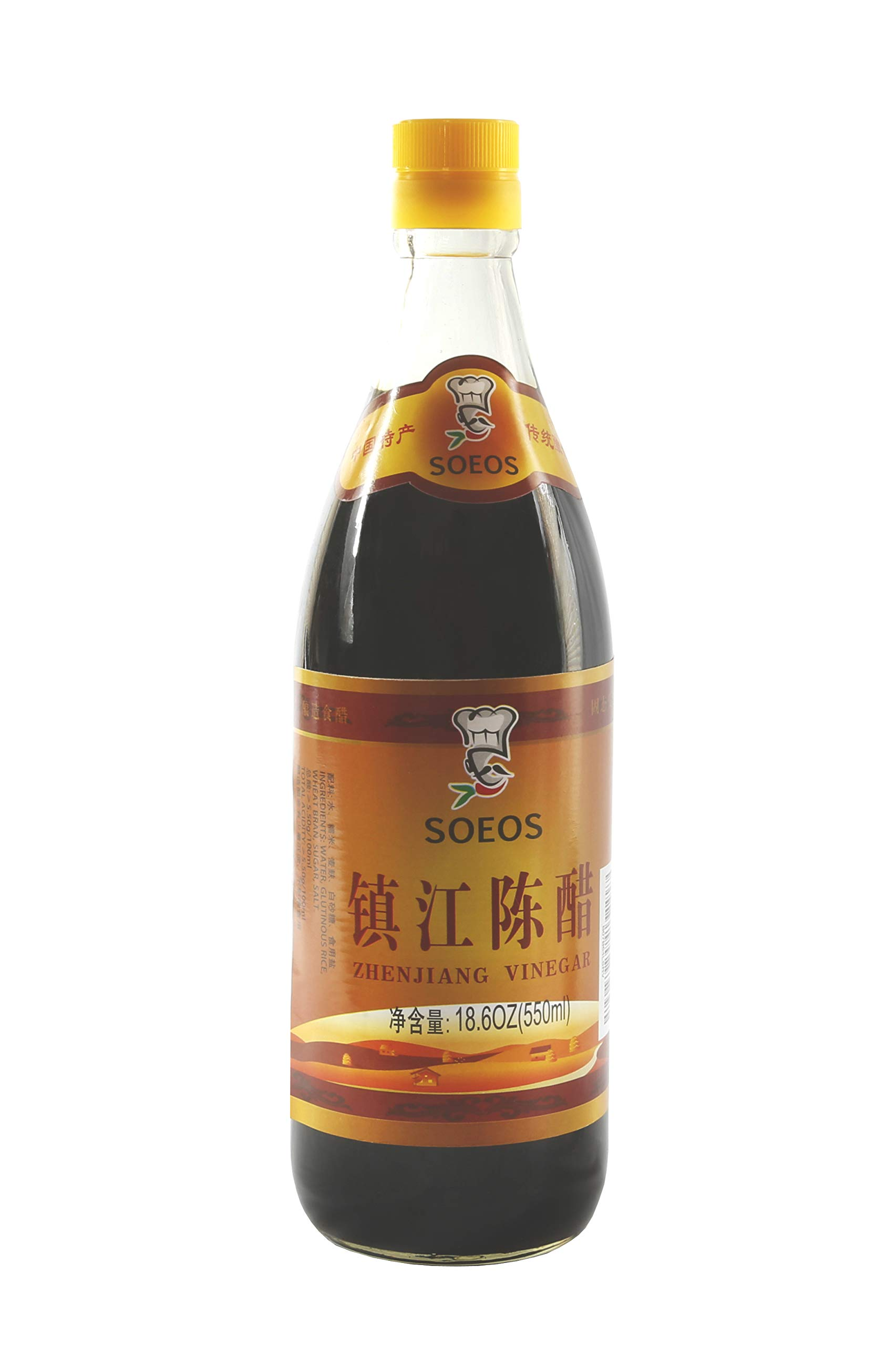 Soeos Chinkiang Vinegar, Mature Aged Black Vinegar, Chinese Black Vinegar, Zhenjiang Vinegar, 16.9 fl.