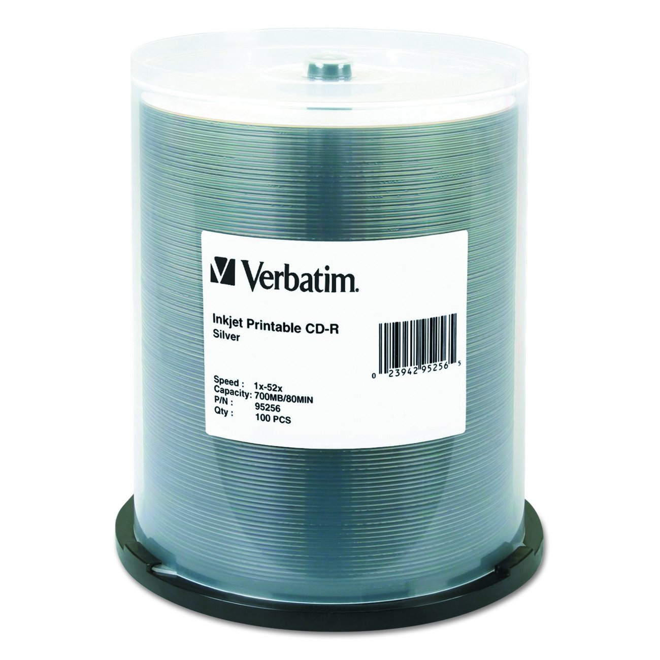 Verbatim CD-R 700MB 52X White Inkjet Printable Recordable Media Disc - 100pk Spindle VERBATIM CORPORATION 95251 Blank Media & Cleaning Cartridges