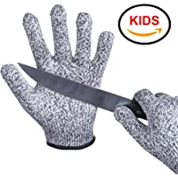 EVRIDWEAR Kid Sized Cut Resistant Work Gloves for Kitchen Use, Crafts, DIY, Garden and Yard works. Children Food Grade Kevlar Safety Gloves for Hand Protection from knives and Scissors
