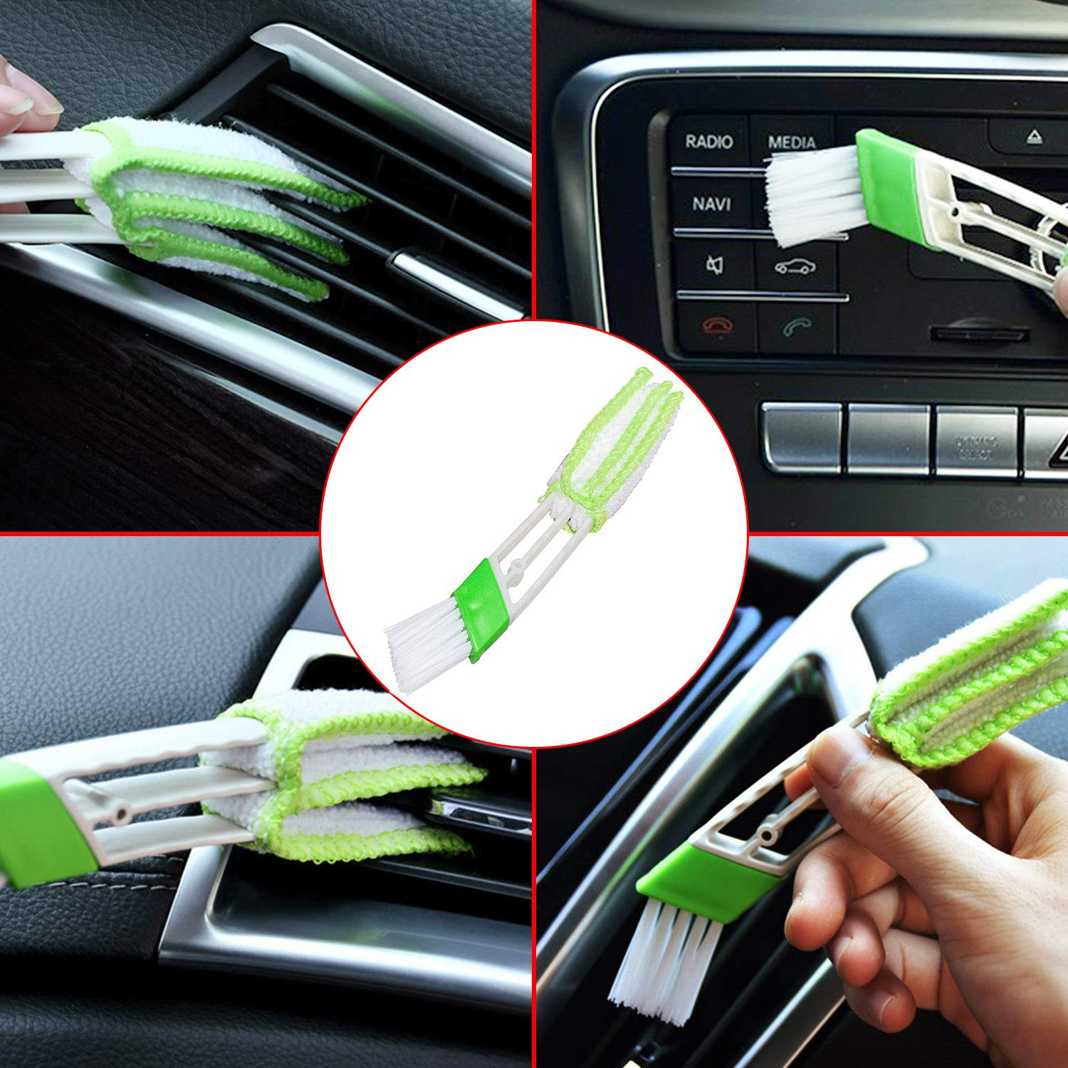 Auto Detail Brush Set with a Car Wash Mitt and 2 pack Car Air Vent Duster for Car Motorcycle Automotive Cleaning Wheels Dashboard Manfiter Detailing Brush Set Interior Exterior Air Vents Leather