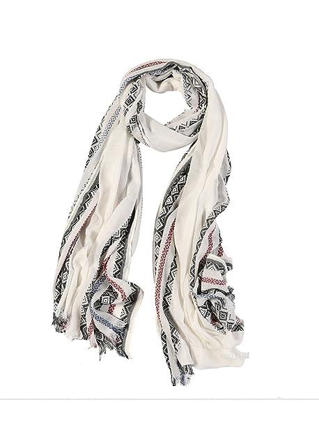 5fa17a722052 DAMILY Echarpes Femmes – Doux Coton Wrap Châle Foulard géométrique Vintage  (Blanc)