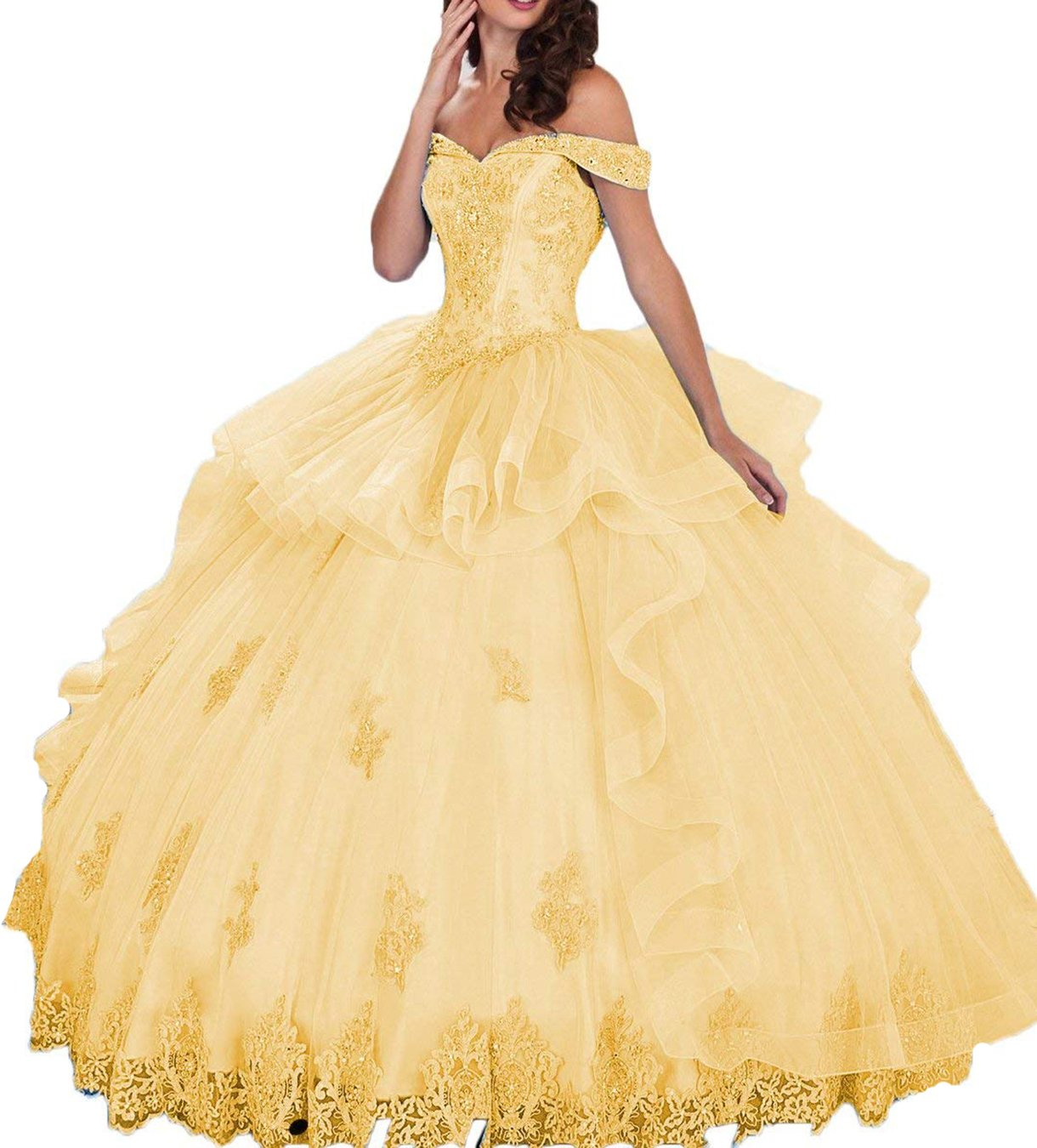 Blink Tendone credito  UGLY Women's Off Shoulder Pleated Quinceanera Dresses Beaded Applique Ball  Gowns UG008 Size 10 Gold