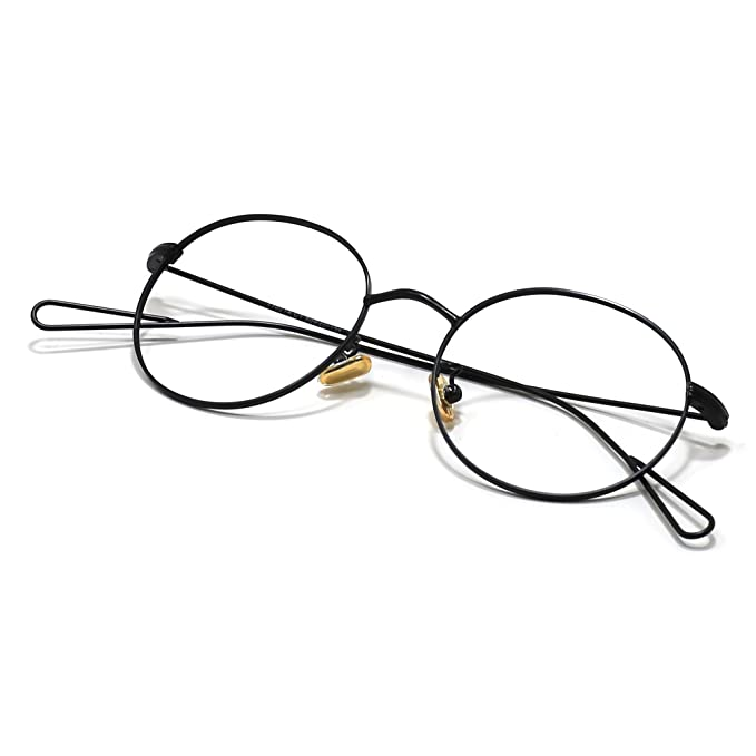 1a37178ec435 Image Unavailable. Image not available for. Color  Slocyclub Slim Metal Frame  Eyeglasses Round Avaitor Retro Glasses Mens And Womens