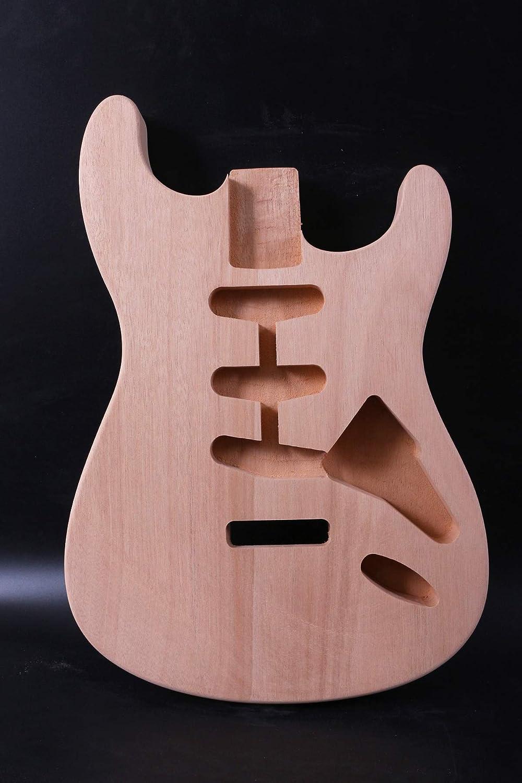 Guitarra eléctrica de repuesto, estilo Strat SSS sin acabado, de caoba
