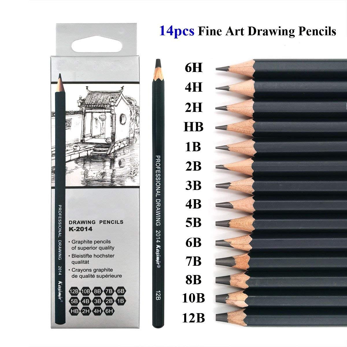 Amazon com sketching pencils set 14 pieces drawing pencils 6h 4h 2h hb b 2b 3b 4b 5b 6b 7b 8b 10b 12b