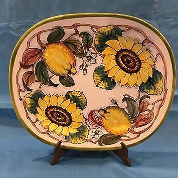 Cerámica pintada a mano ricceri Color Bandeja decoro Limón y girasol: Amazon.es: Hogar