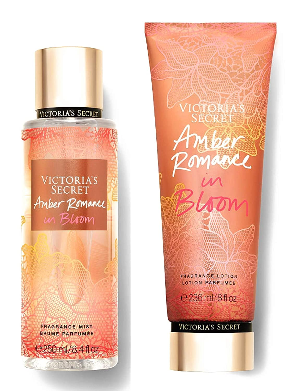 Victoria Secret In Bloom Fragrance Mist and Lotion Set (2PC) - 8.4 fl oz & 8 fl oz (Amber Romance in Bloom)