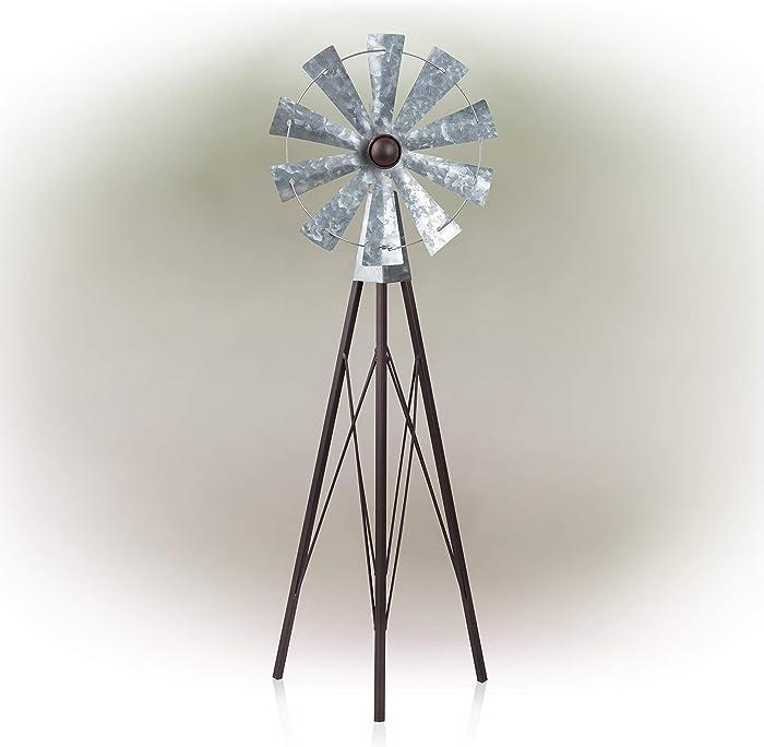 Alpine Corporation JUM368 Alpine Garden Stake Metal Wind Spinner, Bronze and Silver