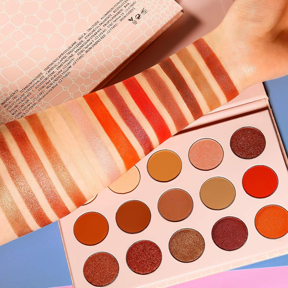 DE'LANCI Nude Eyeshadow Palette 15 Colors,7 Shimmer + 8 Matte Brown Red Smoky Metallic Neutral Eyeshadows Shade,High Pigmented Waterproof Easy To Blend Mini Makeup Palette