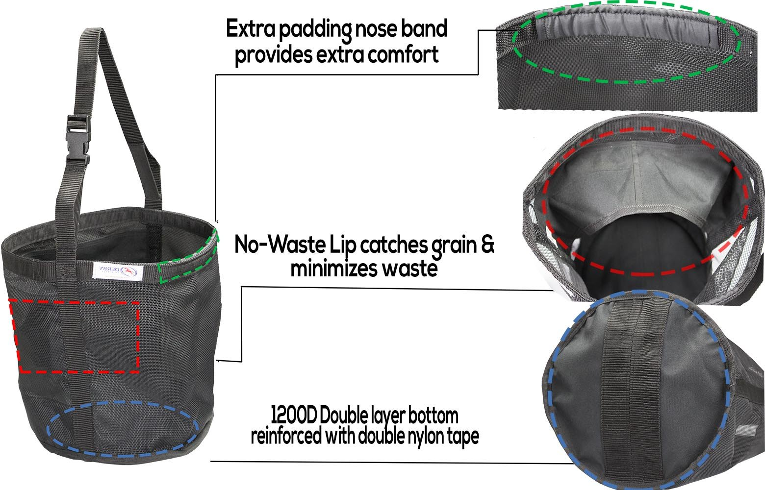 Derby Originals Heavy Duty Pvc Mesh Feed Bag With Extra Comfort Noseband Padding No Waste Flap Design