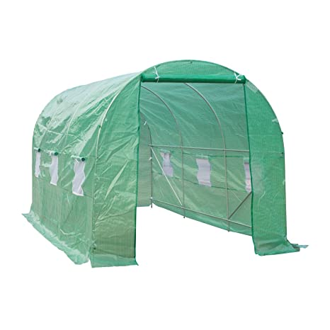 OUTSUNNY Invernadero de Cultivo para Terraza o Jardín - Color Verde - Tubo Acero y PE 140g/㎡ - 450x200x200 cm: Amazon.es: Jardín