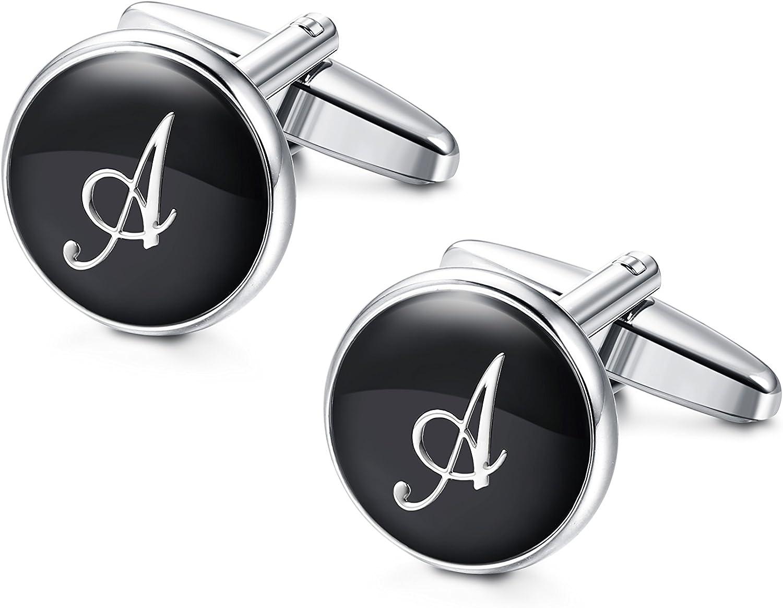 Besteel Iniciales Gemelos Letras para Hombre Mujer Camisa Personalizados Boda Gemelos, A-Z