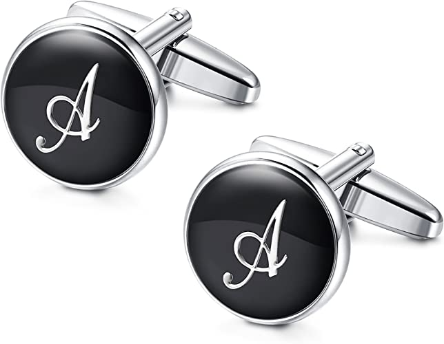 Besteel Iniciales Gemelos Letras para Hombre Mujer Camisa Personalizados Boda Gemelos, A: Amazon.es: Joyería