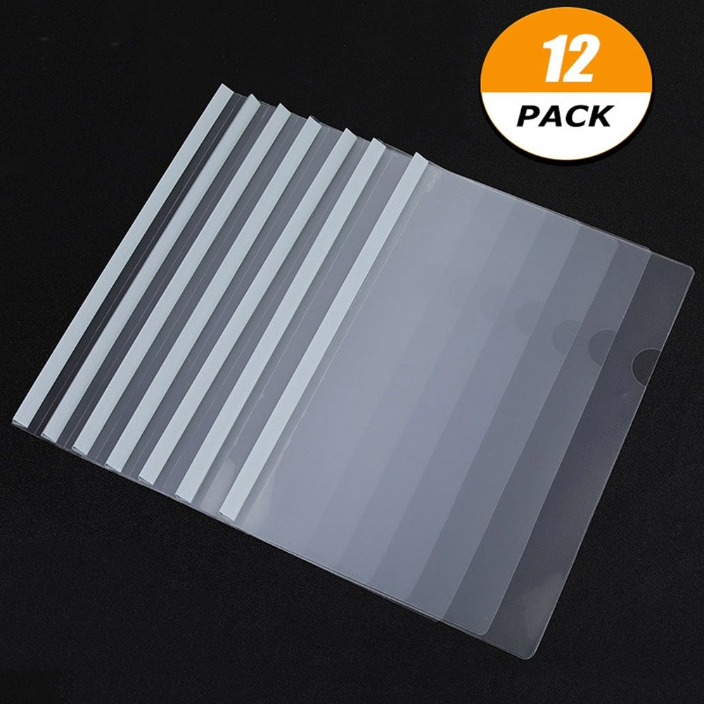 12 pack clear report covers with u type sliding bar file folder