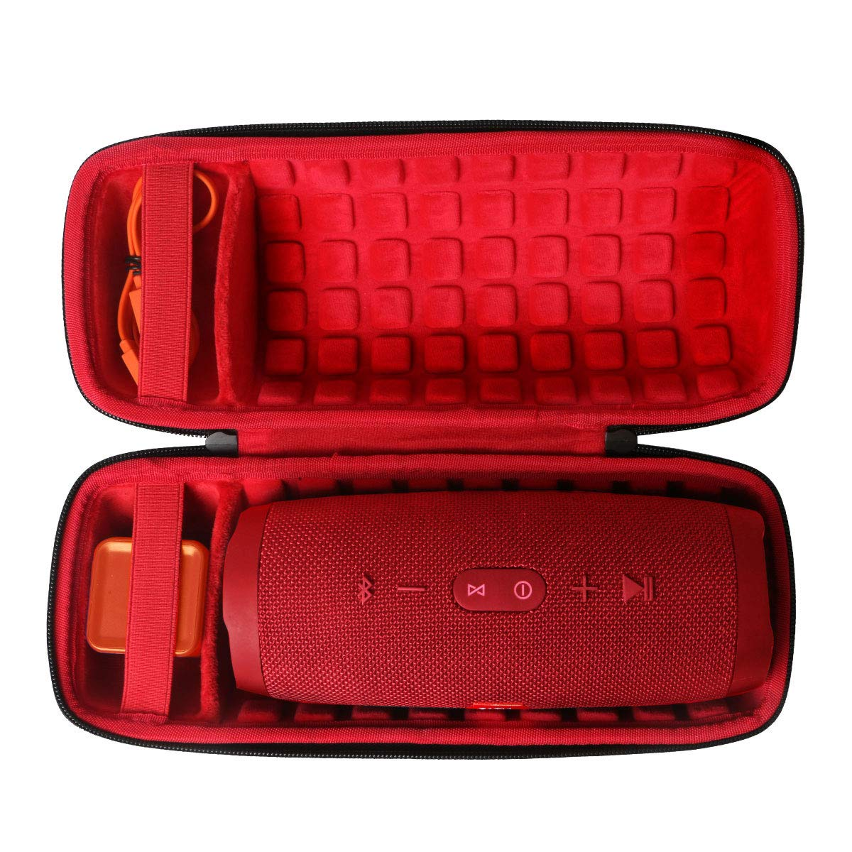 co2crea Hard Travel Case for JBL Charge 4 Waterproof Bluetooth Speaker (Outside Black and Inside Red)