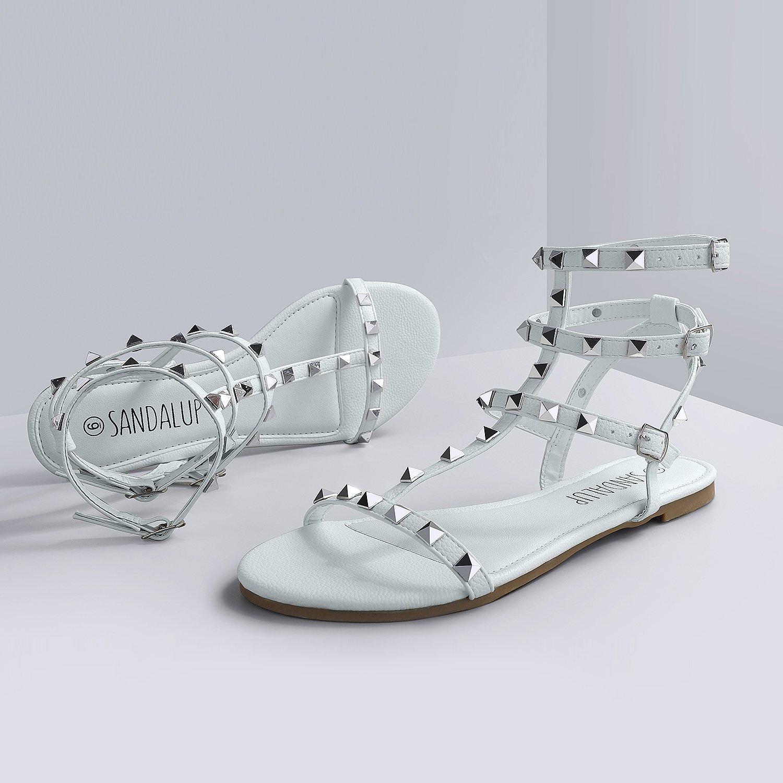 38e61355feea SANDLUP Sparkly Women s Rivet Ankle Straps Flat Sandals  Amazon.com.au   Fashion