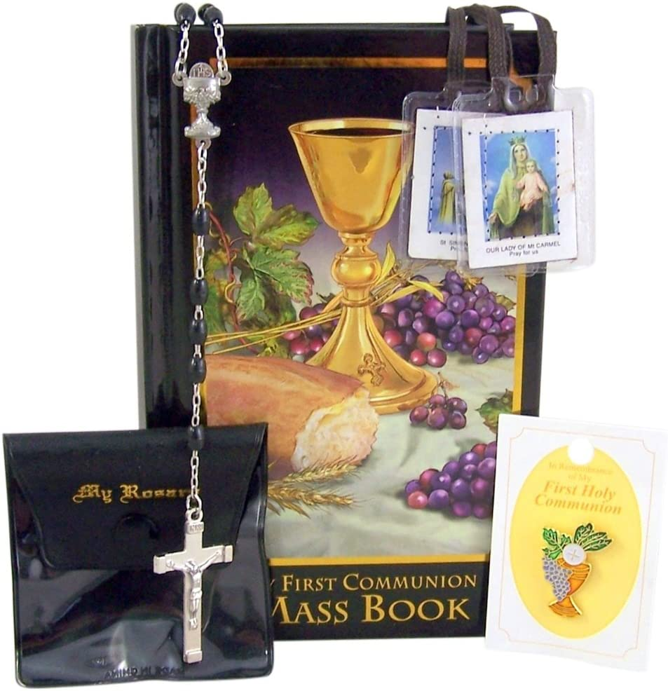 Autom First Communion Set for Boys with Mass Book, Rosary, Case, Lapel Pin, and Scapular