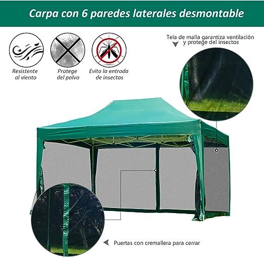 Outsunny Carpa 3x4.5m + Mosquitera Carpa Plegable en Acordeon Gazebo Verde terraza Jardin