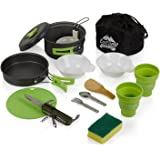Mess Kit (13 Pcs) for Camping w/ Cookware Set Plus 7 In 1 Utensil Set, 2 Silicone Cups, Cutting Mat & Dunk Bag by EcoCamp Outdoor Gear|Compact, Light & Durable for Military, Backpacking, Hiking|Green