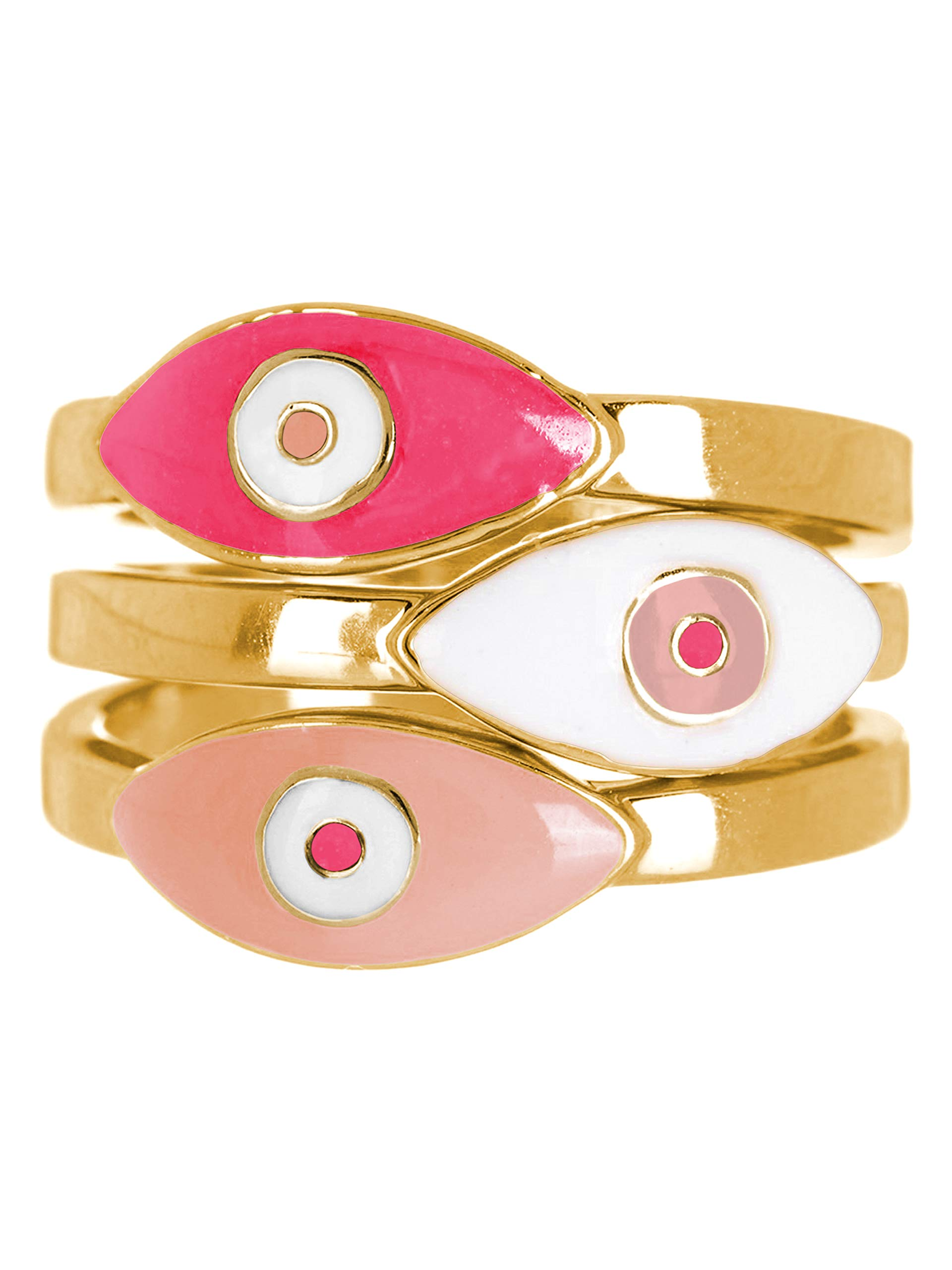 Sterling Forever - Gold Plated 3-Piece Enamel Evil Eye Ring Set in (Shades of Pink, 8)