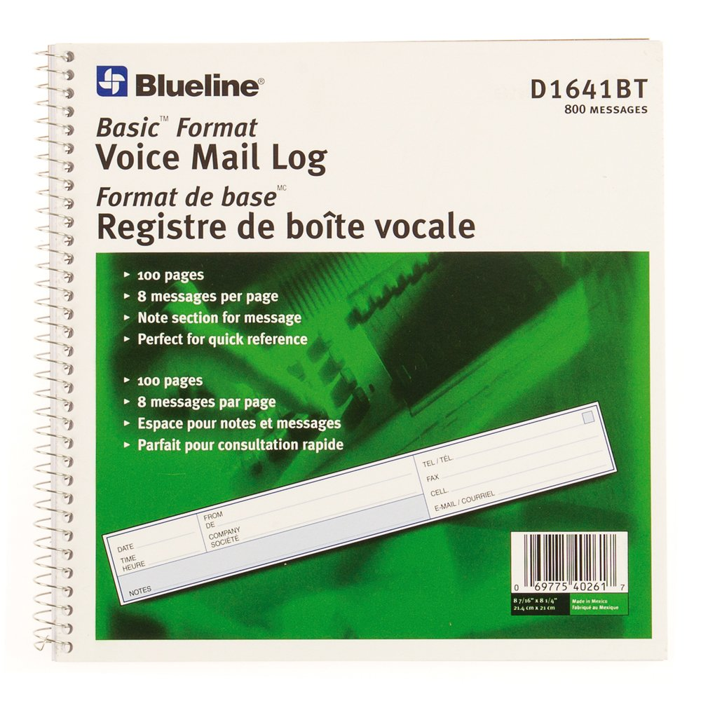 Blueline Voice Mail Logs Basic Format 800 Messages Bilingual 8-7/16-Inchx8-1/4-Inch (D1641BT)