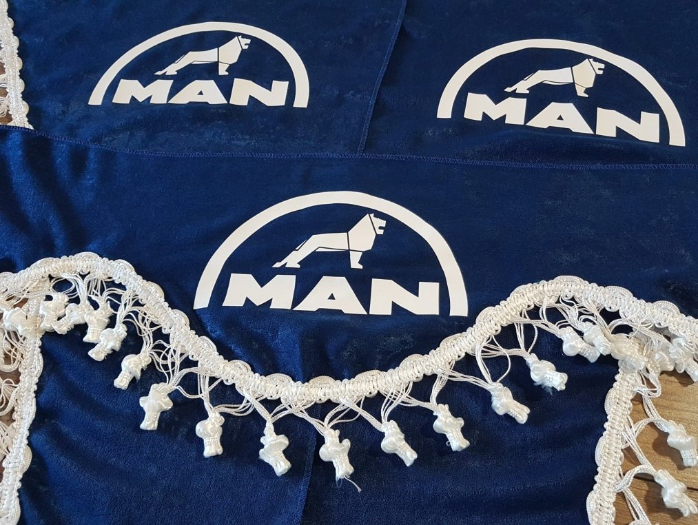 Other Set of 3 Blue Curtains with White Tassels UNIVERSAL SIZE Truck All Models Accessories Decoration Plush Fabric