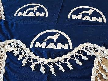 Amazon.es: 3 Piezas Azul Cortinas con Borlas Blancas TAMAÑO UNIVERSAL para todos MAN Camión Modelos Accesorios Decoración Tejido de Felpa